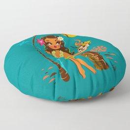 Tiki Temptress • With Skull Mug Cocktail Floor Pillow