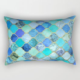 Cobalt Blue, Aqua & Gold Decorative Moroccan Tile Pattern Rechteckiges Kissen