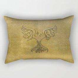 Phoenix Bird Gold Embossed Rectangular Pillow