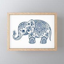 Blue Floral Paisley Cute Elephant Illustration Framed Mini Art Print
