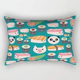 Kawaii sushi teal Rectangular Pillow