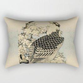Hokusai -falcon next to a plum tree in bloom - 葛飾 北斎,hawk,bird. Rectangular Pillow