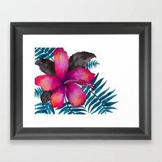 Pink Hibiscus Flower - WHITE Framed Art Print
