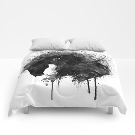 Black and White Horse Head Watercolor Silhouette Comforters