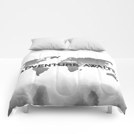 Mountain pattern comforters society6 adventure awaits morning forest black and white world map comforters gumiabroncs Gallery
