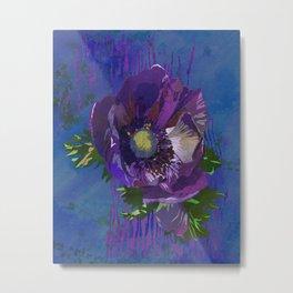 Purple Anemone Flower Art | Watercolor Floral Art Print | Blue Purple Floral Wall Decor Metal Print