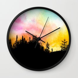 Colorful Forest Skies Wall Clock