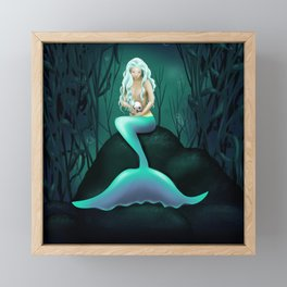 Mermaid Holding Skull Framed Mini Art Print