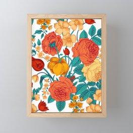 Vintage flower garden Framed Mini Art Print