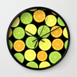 Citrus Slices on Black Wall Clock