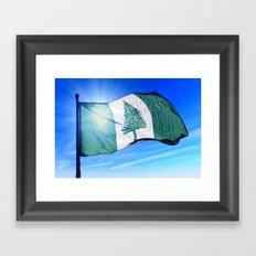 Norfolk Island flag waving on the wind Framed Art Print