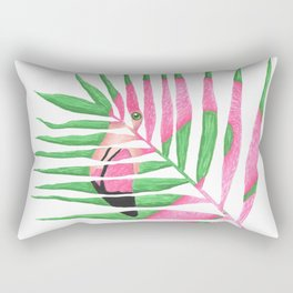 Pink Flamingo Palm Leaf Rectangular Pillow