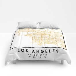 LOS ANGELES CALIFORNIA CITY STREET MAP ART Comforters