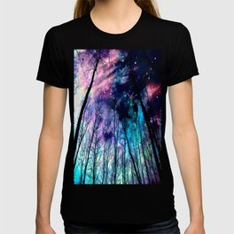 Black Trees Colorful SpacE T-shirt