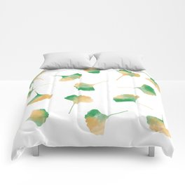 Ginkgo biloba leaves white Comforters
