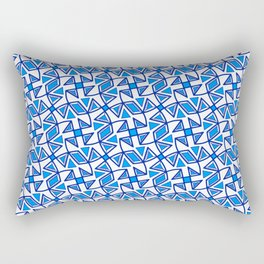 Sapphire Blue and White Pinwheel Pattern Diamond Design Triangles Southwestern Design Pattern Rectangular Pillow