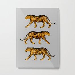 Tigers (Gray and Marigold) Metal Print