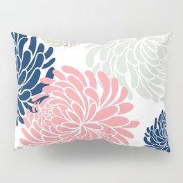 Floral Pattern Chrysanthemum, Blush Pink, Navy Blue Pillow Sham