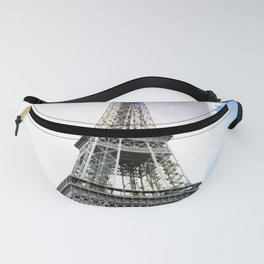 Eiffel Tower Paris in Black and White with Blue Stripe Fanny Pack