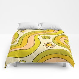 groovy rainbow flower power wallpaper vibes Comforters
