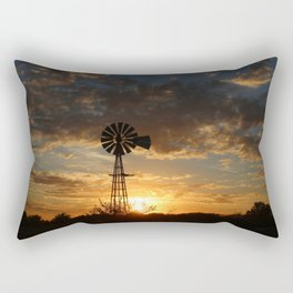 Kansas Windmill Silhouette with colorful clouds Rectangular Pillow