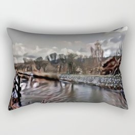 Winter by the old canal Rectangular Pillow