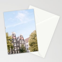 Summer day in the city Amsterdam, Netherlands || Cityscape, architecture, buildings, canal house || Travel photography art print in color Stationery Cards