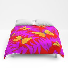 DECORATIVE RED-PURPLE FERNS & GOLDEN BUTTERFLIES Comforters