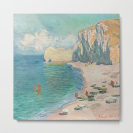 Etretat: The Beach and the Falaise d'Amont by Claude Monet, 1885 Metal Print