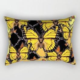 BLACK-GOLDEN YELLOW BUTTERFLIES ART Rectangular Pillow