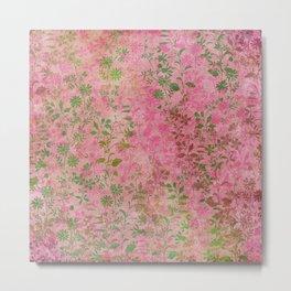 Fantaisie Floral Pink Metal Print