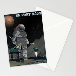 NASA Mars Recruitment Poster - Work the Night Shift on Mars' Moon Stationery Cards