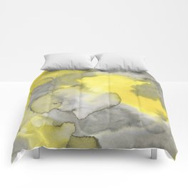 Hand painted gray yellow abstract watercolor pattern Comforters