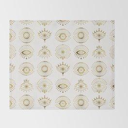 Evil Eyes – Gold Palette Throw Blanket
