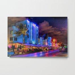 South Beach Miami City Lights by Jeanpaul Ferro Metal Print