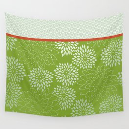 Dahlia Scallops Green and Orange Wall Tapestry