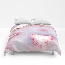 Pink Rose Gold Blush Agate Marble Gemstone Comforters