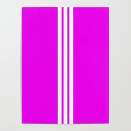 3 White Stripes on Pink Poster