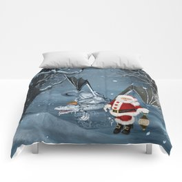 Santa Claus with ice dragon in a winter landscape Comforters