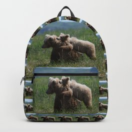 Alaska Grizzly Mother And A Cub In Katmai National Park Backpack