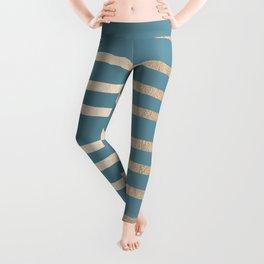 Abstract Drawn Stripes Gold Tropical Ocean Blue Leggings