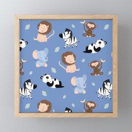 The jungle animals pattern Framed Mini Art Print