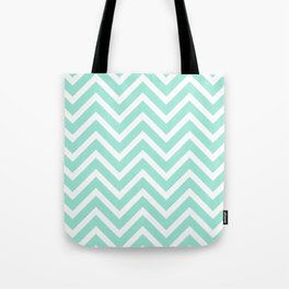 Chevron Stripes : Seafoam Green & White Tote Bag