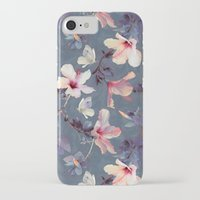purple iPhone & iPod Cases featuring Butterflies and Hibiscus Flowers - a painted pattern by micklyn