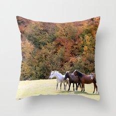 Horses Valley Throw Pillow