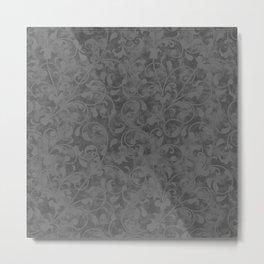 Modern Farmhouse Gray Damask Print Flower Vine on Weathered Background Metal Print