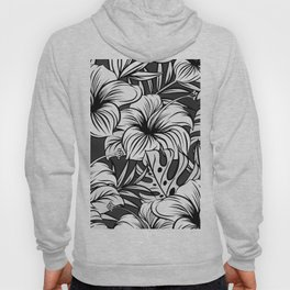 Black and White Tropical Floral Hoody