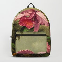 Orchids And Hummingbirds mountainous rainforest landscape painting by Martin Johnson Heade Backpack