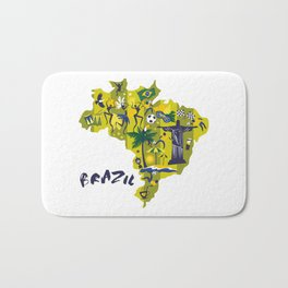 Brazil Map Christ Brazilian Culture Soccer Mural Badematte
