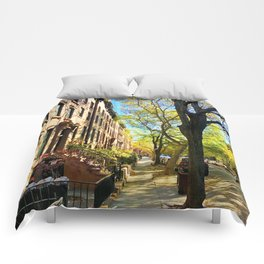 Cobble Hill Brooklyn New York in the Fall, Brownstones Comforters
